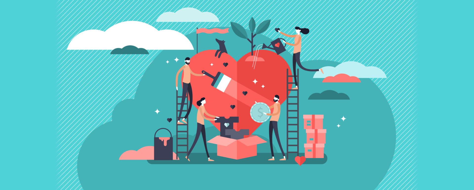 Volunteering vector illustration.