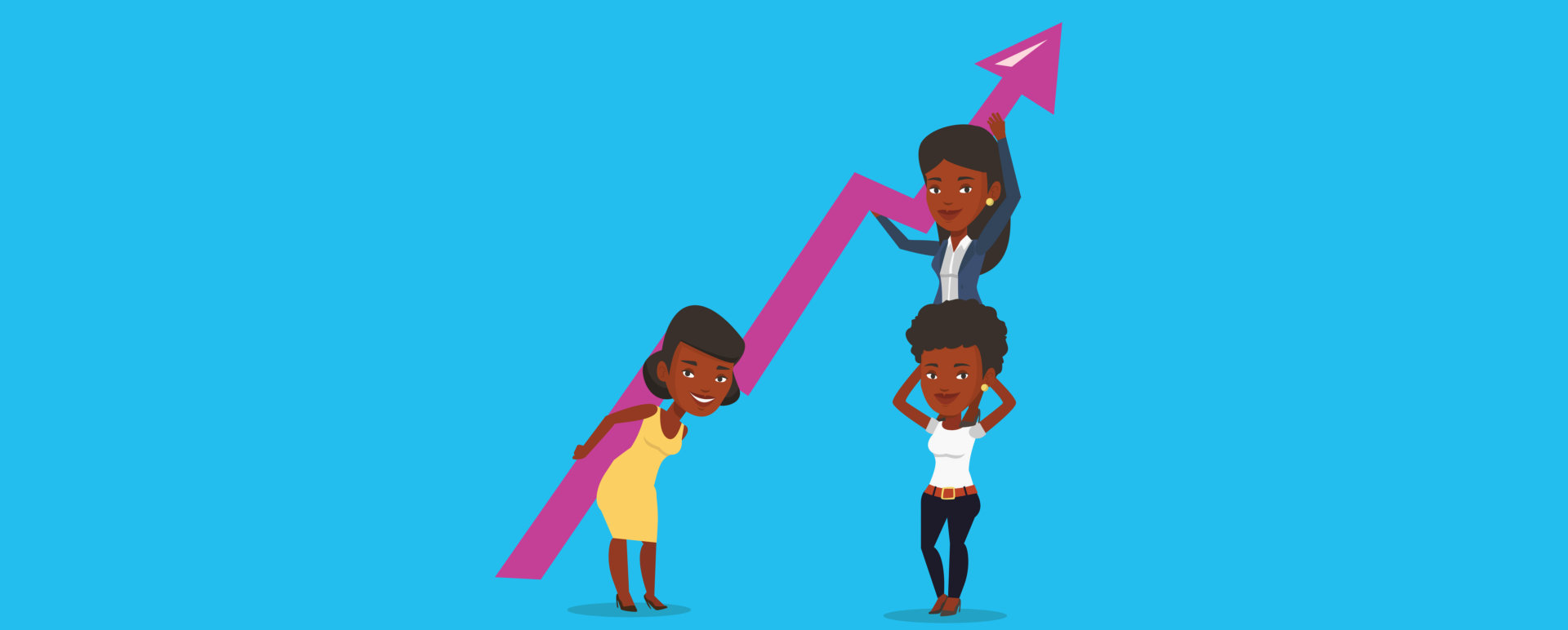three business women holding growth graph
